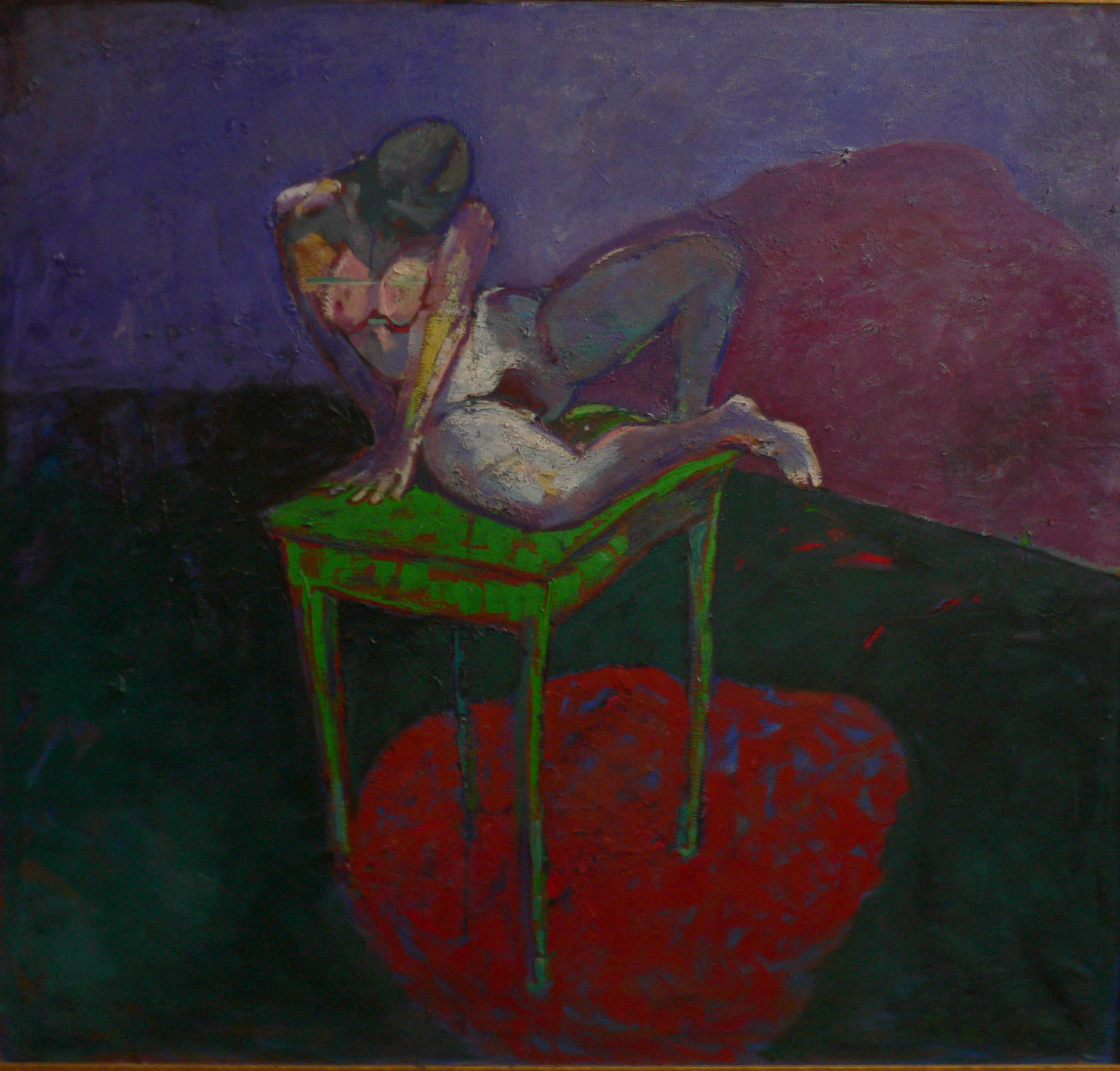 nue sur table huile sur toile 150x140  2011