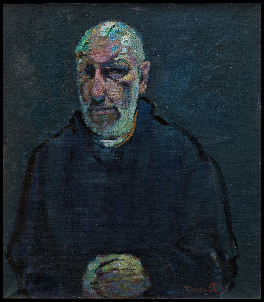 autoportrait les mains croisées/selfportrait with hands  huile sur toile 80x70cm 2011
