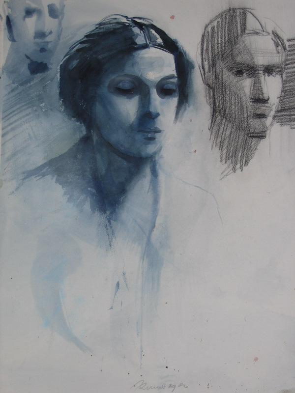 etude pour un portrait de femme   lavis 60x50cm collection GPieri Italie
