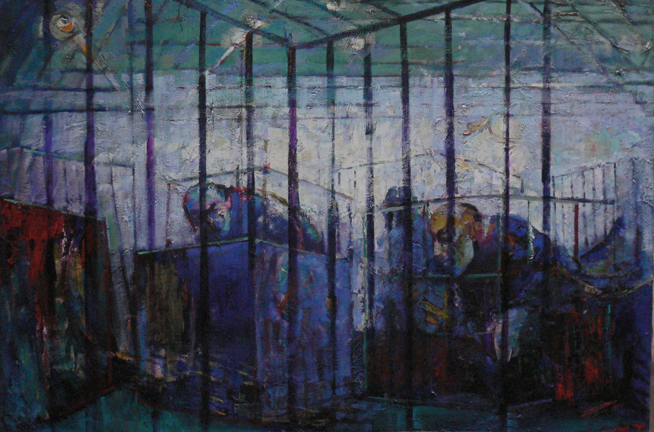 autoportrait en cage /SELFPORTRAIT in cage huile sur toile 192x160 cm 2012