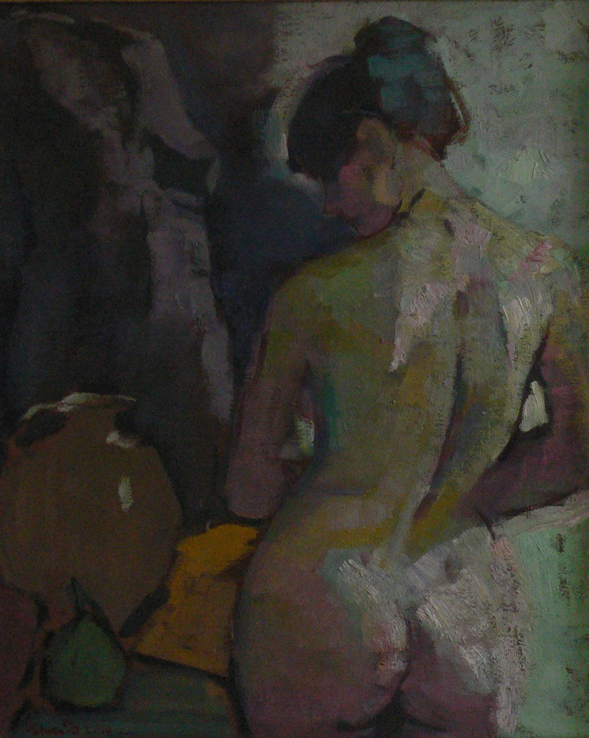 nu de dos -nude -huile sur toile 70x60cm  2010  VENDU