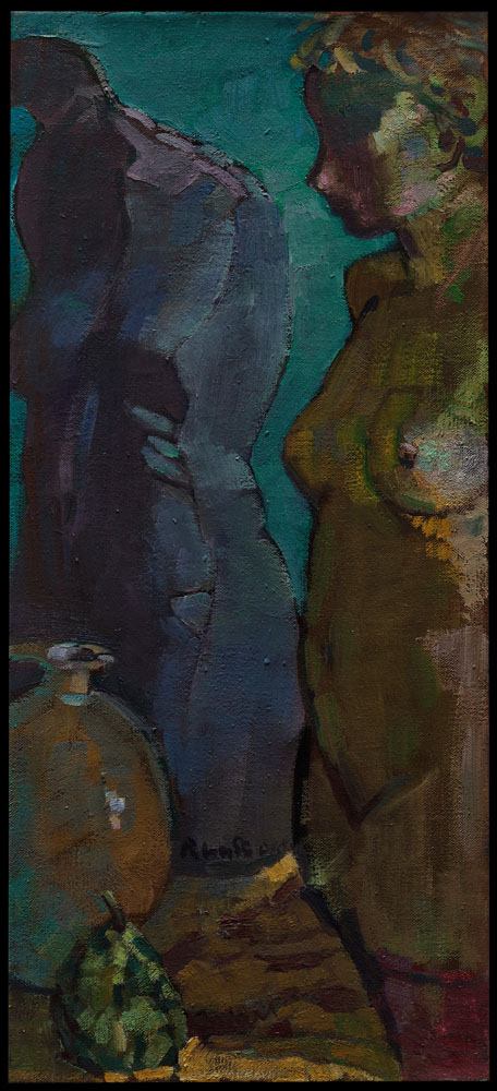 nu avec sculpture/nude    huile sur toile90x40 cm