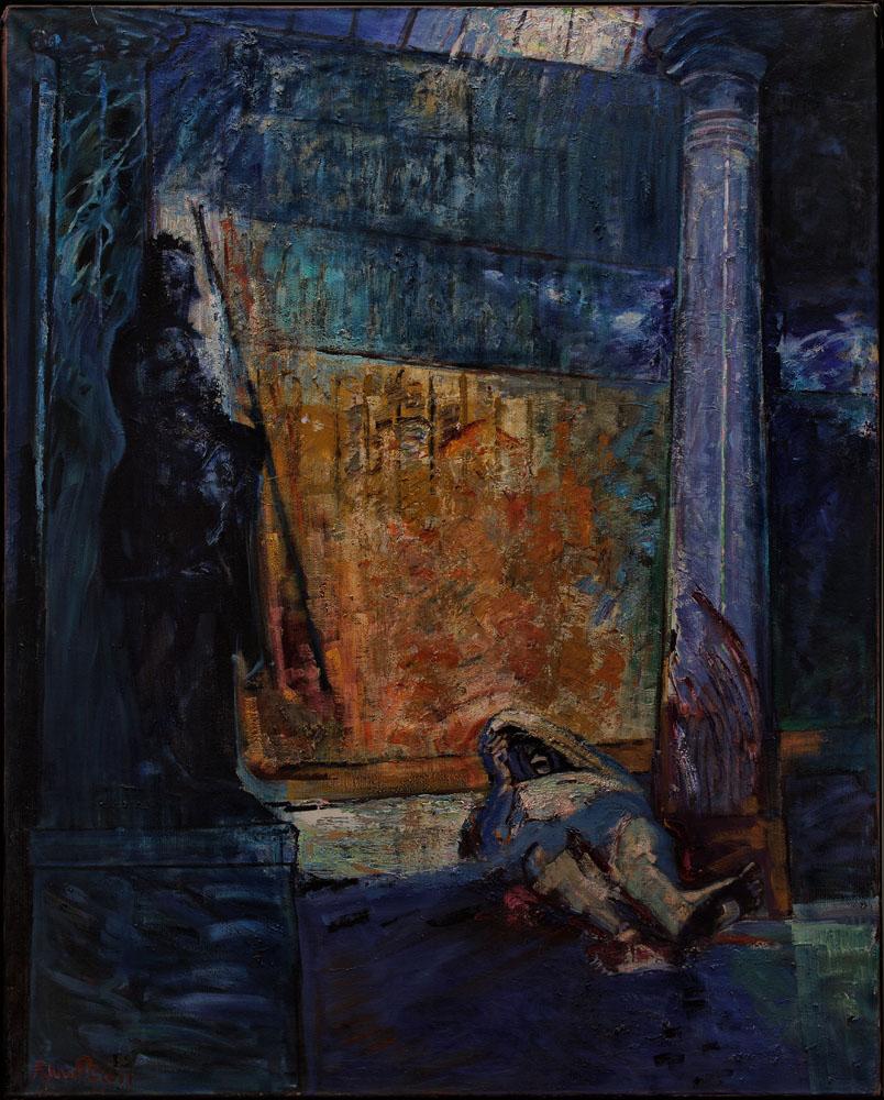 César dans le temple de Pompejus  huile sur toile 250x200 cm 2011 commoda comune Cesena in quartier generale policia