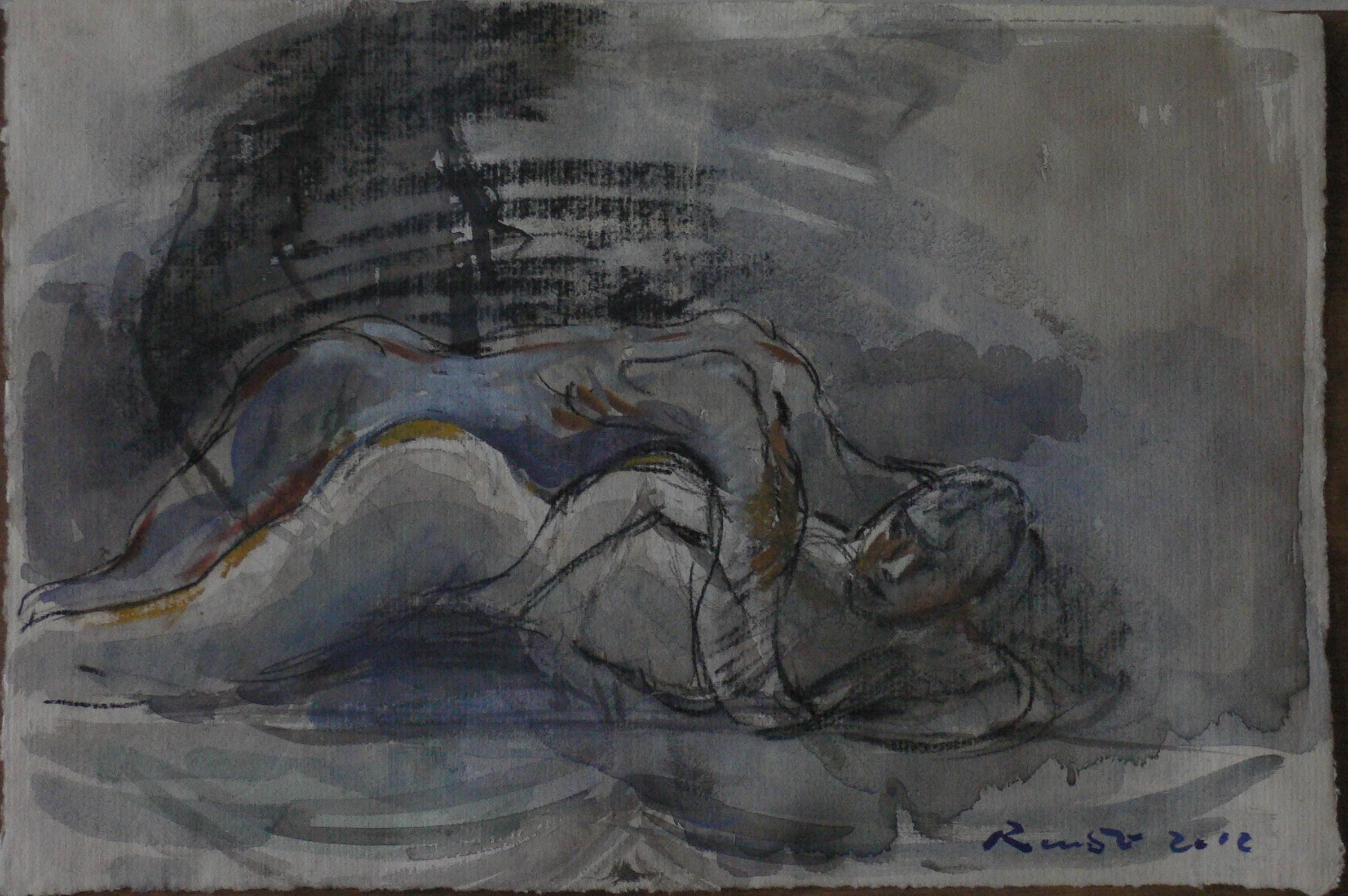 aquarelle /lavis couple -indigo ,bleu et ocre ,rouge anglais