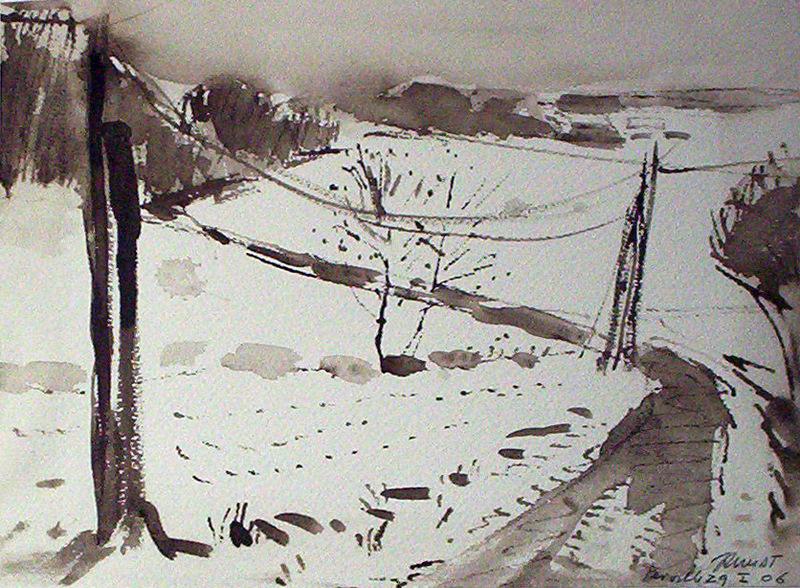 paysage de neige  VENDU 2006 40x30plume  Lavis bistre 35 x 25cm