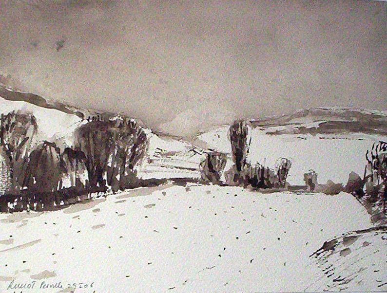 paysage de neige VENDU .   2006   Plume lavis bistre 35 X 25 cm