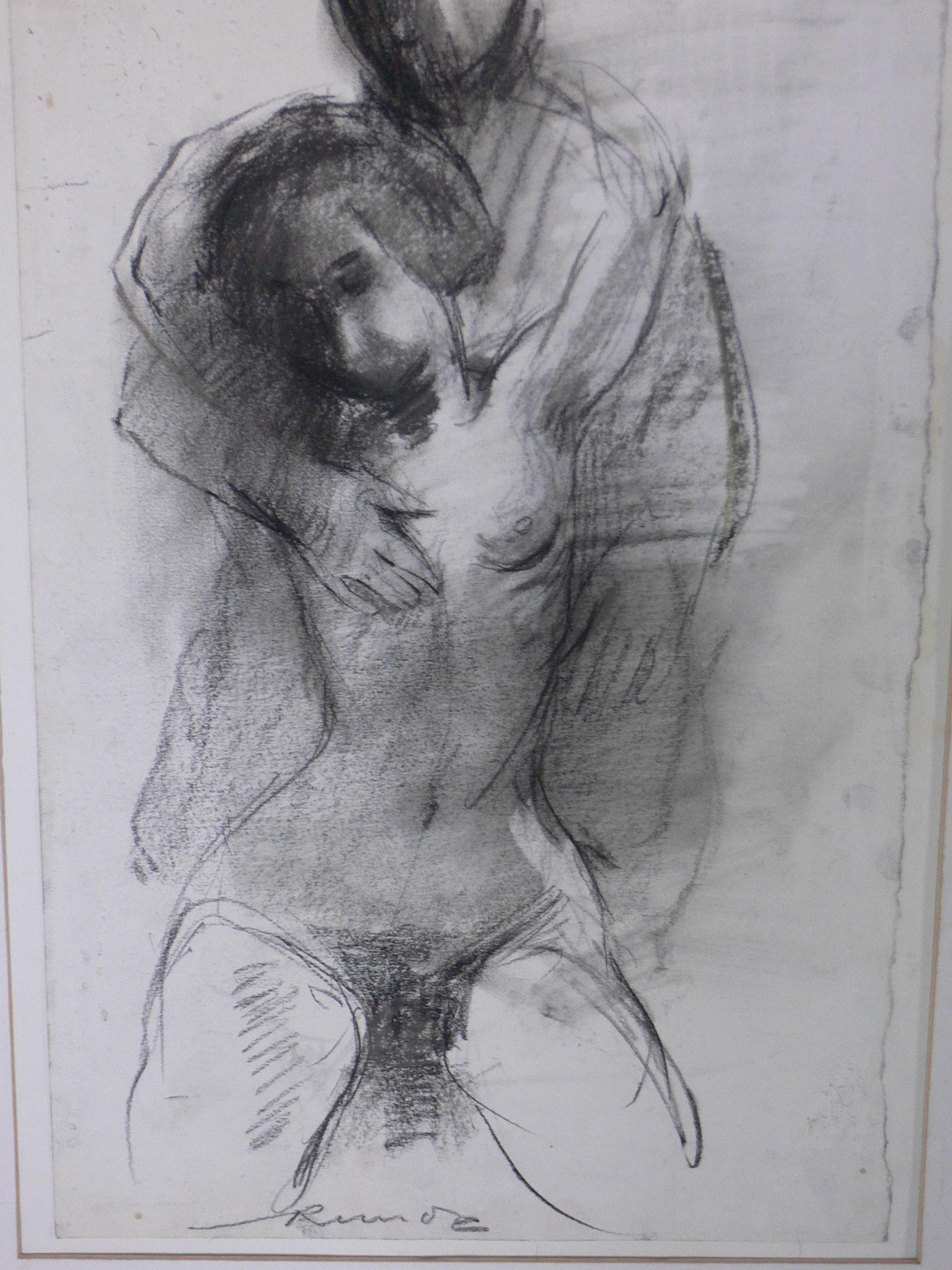 couple craie sur papier 60x70 cm