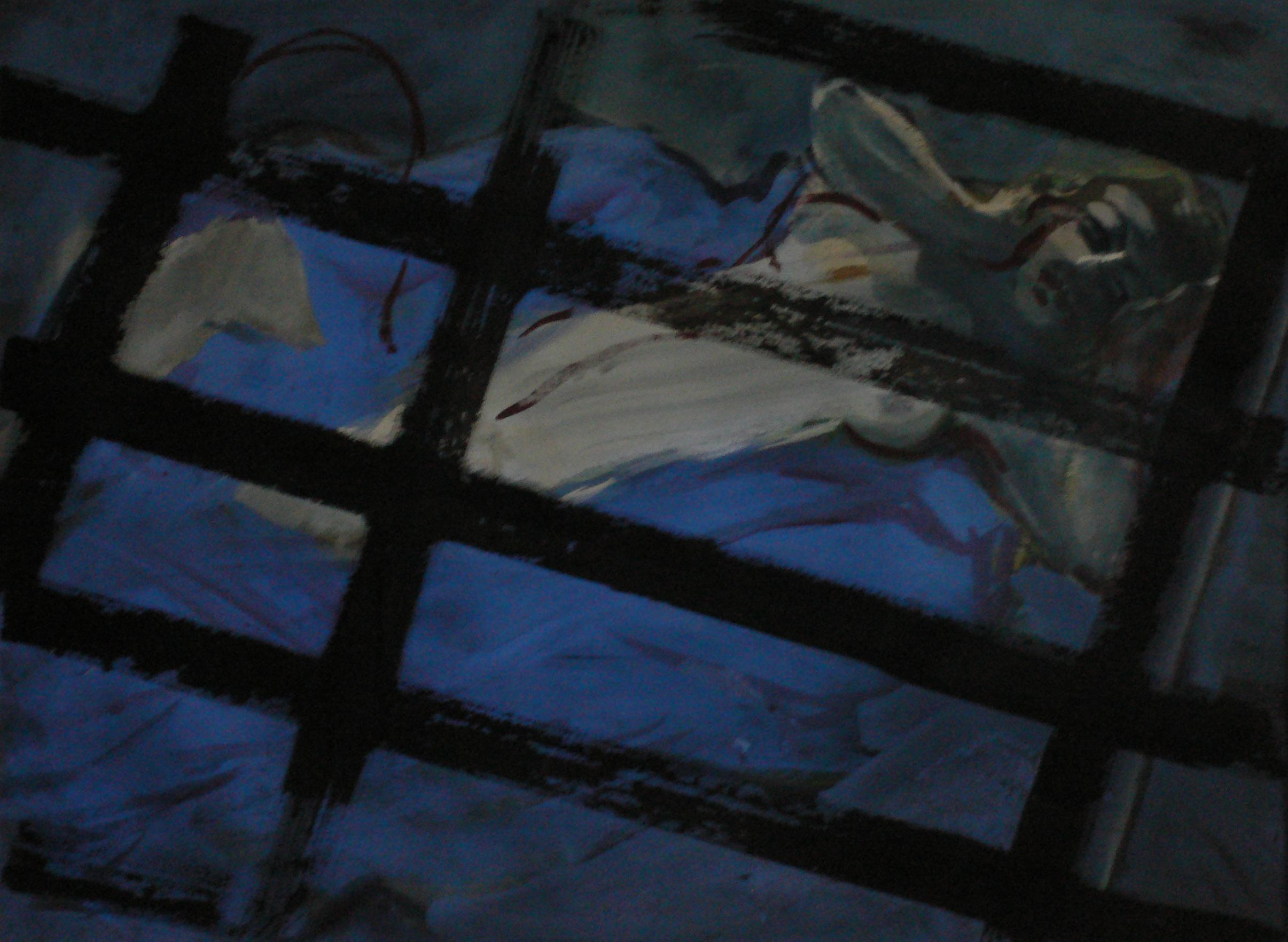 """dans le série  """"cages """" aquarelle 70x50cm sur papier Arche"""
