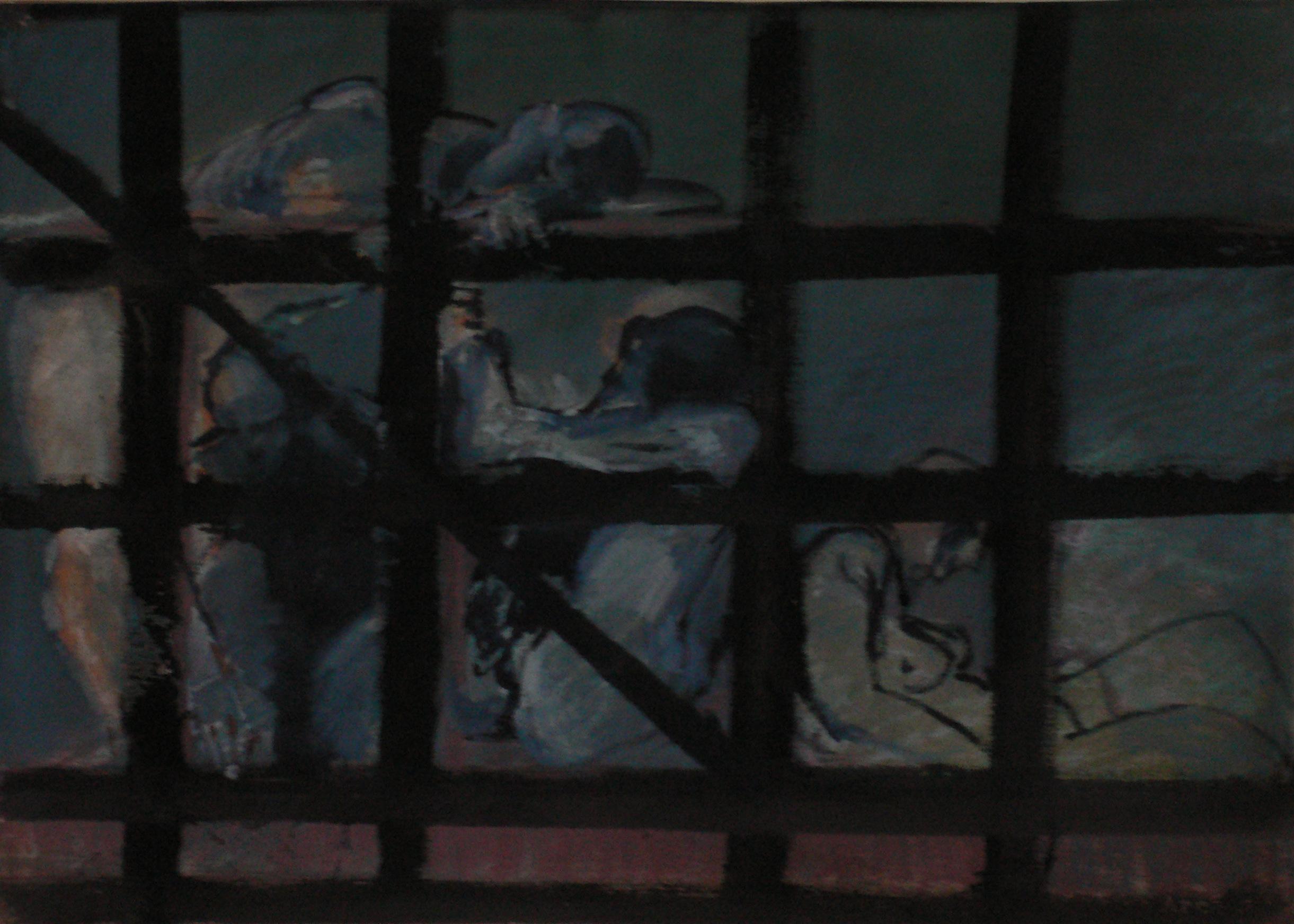 ''dans un cage'' aquarelle 70x50 cm