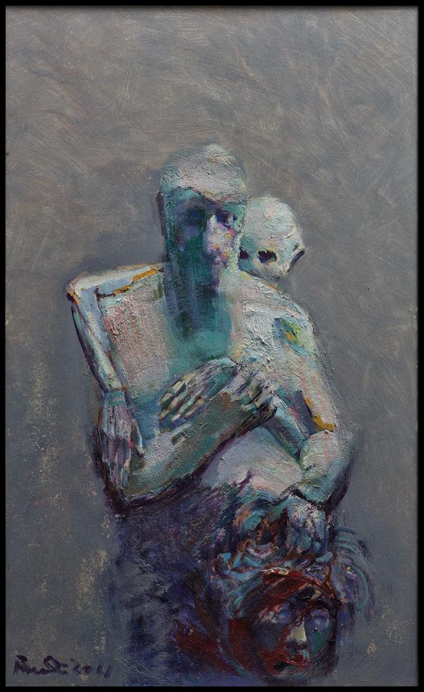 autoportrait et la mort et tête de méduse huile sur bois 145x100 cm 2012