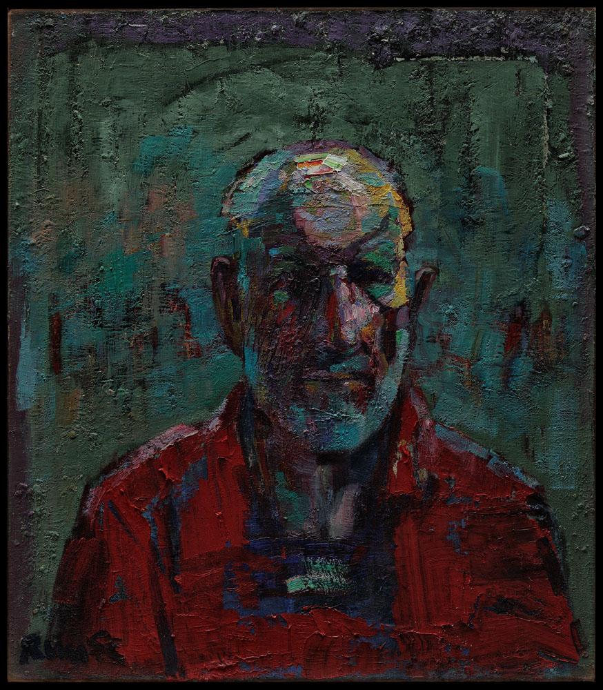 autoportrait en rouge et vert huile sur toile 80x70cm 2008