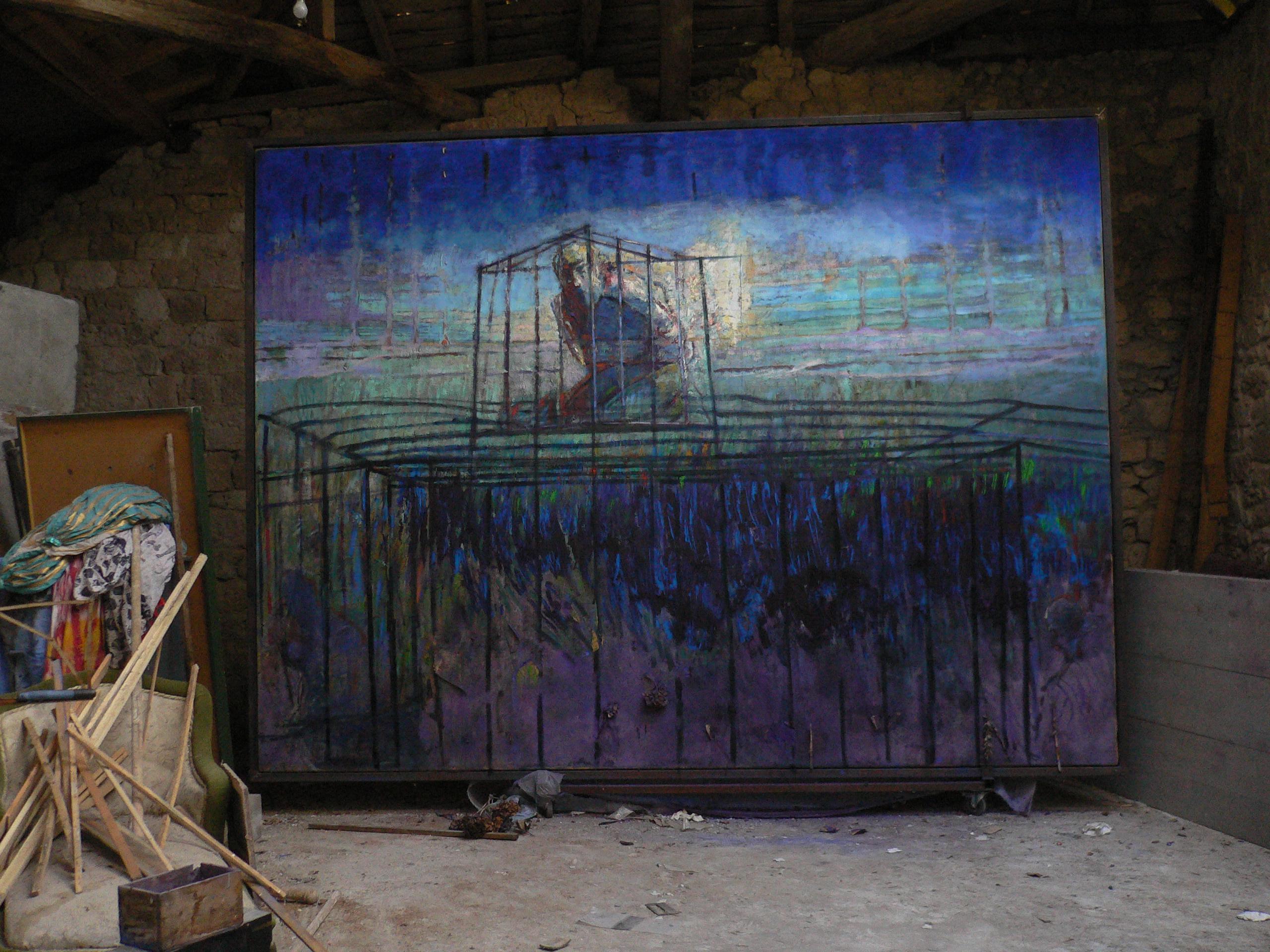 autoportrait en cage  huile sur toile,et pigments  400x300 cm 2013