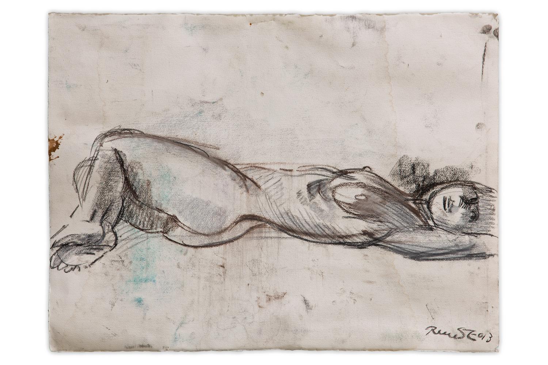 DESSIN nue allonge ,etude pour grand platre  craie sur papier