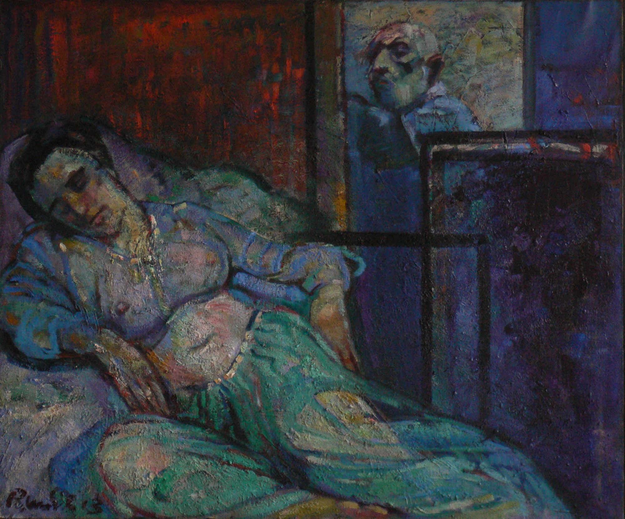 peintre et son modèle  huile sur toile 115x100 cm 2013 VENDU coll. J.Baars Hollande