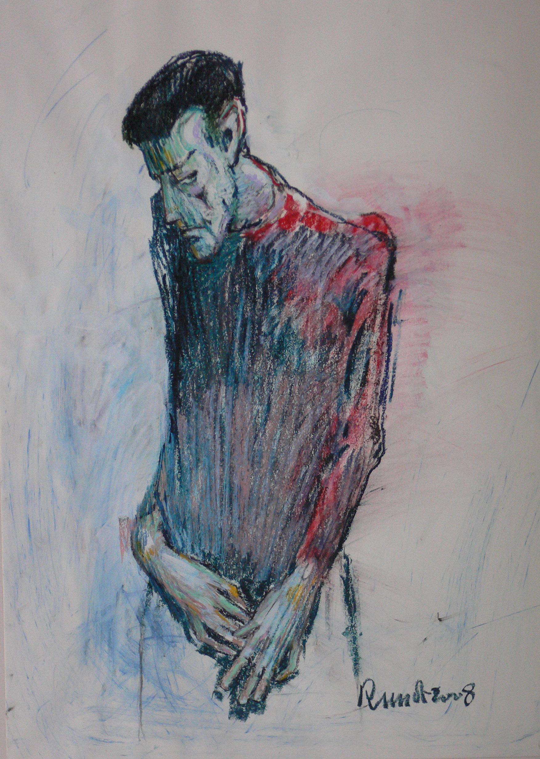 portrait d'un bipolaire  100x70 cm craie gras