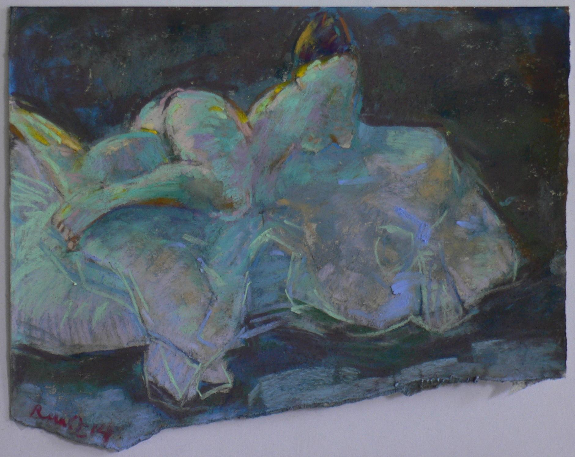 nue sur le lit ,pastelle ,2014
