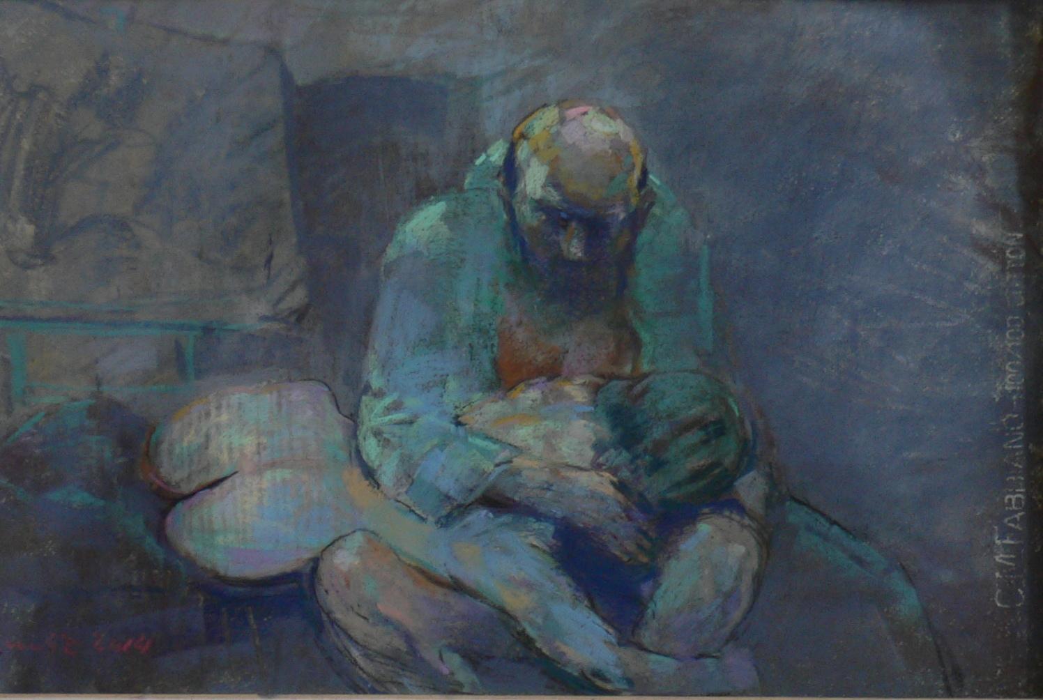 vieil homme el jeune fille,pastelle,2014