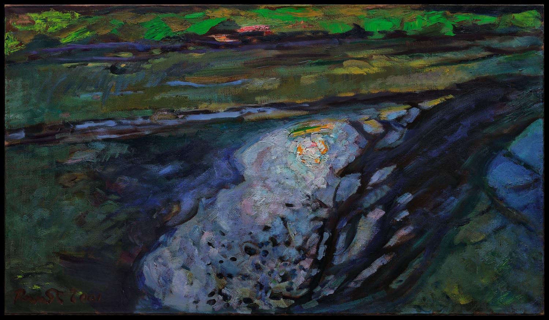 le bord de la riviere de l'Indre  huile sur toile 160 x80 cm