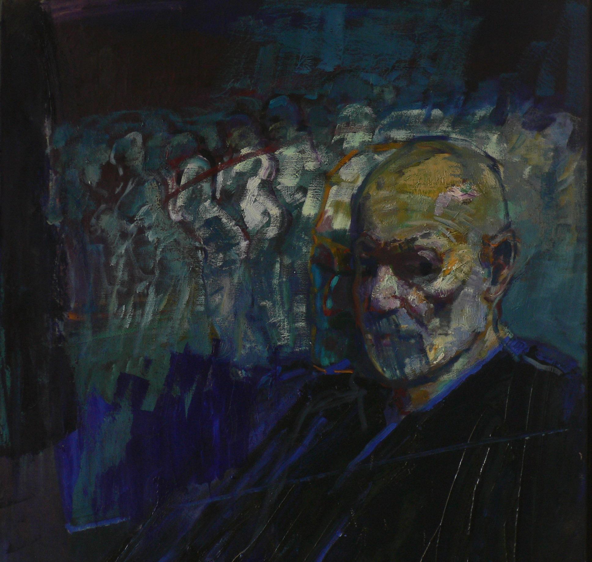 portrait avec migrants huile sur toile 100x90 cm