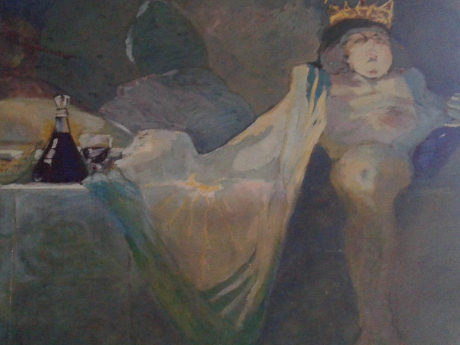DETAIL FRESQUE salle de fete  Anglars -Juillac tempera/bois 1990