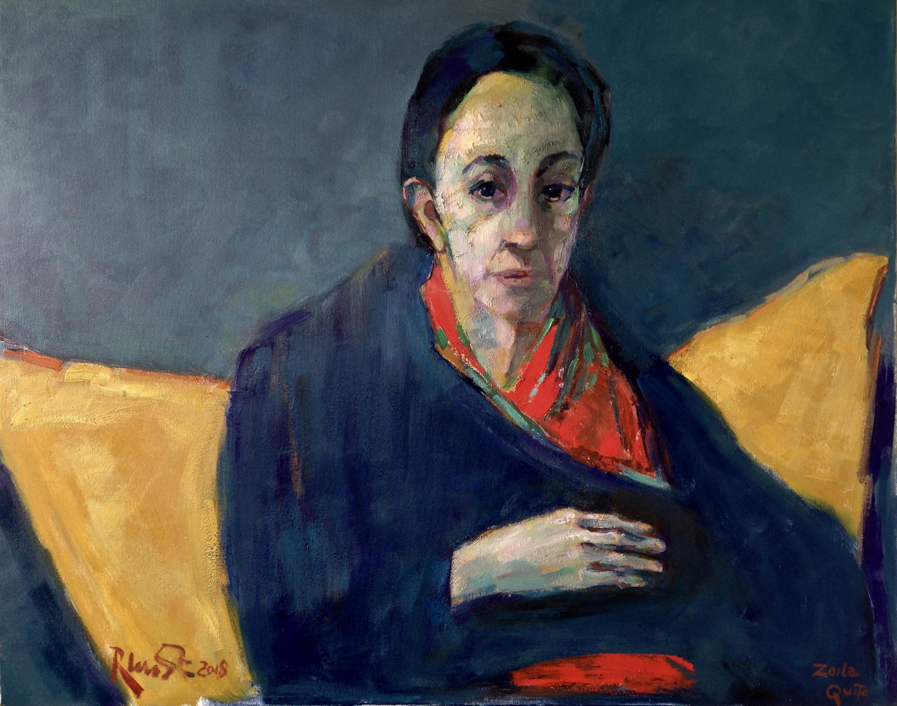 ritratto di Zoila V olio su tela 100 x80 cm 2018 venduto coll Renato P Italia