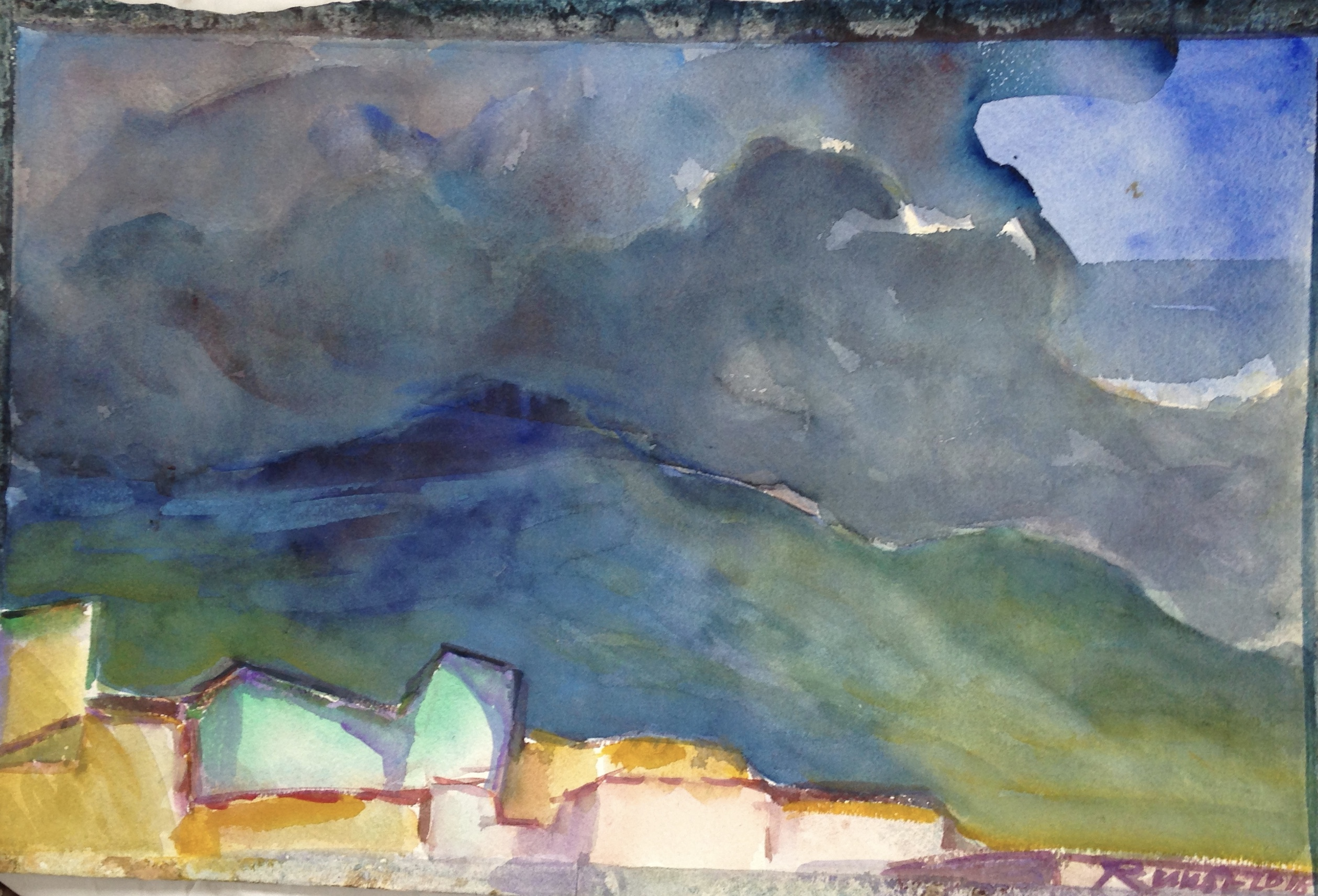 quito ''rainy weather'' aquarelle  on Archpaper 53x35 cm 2018