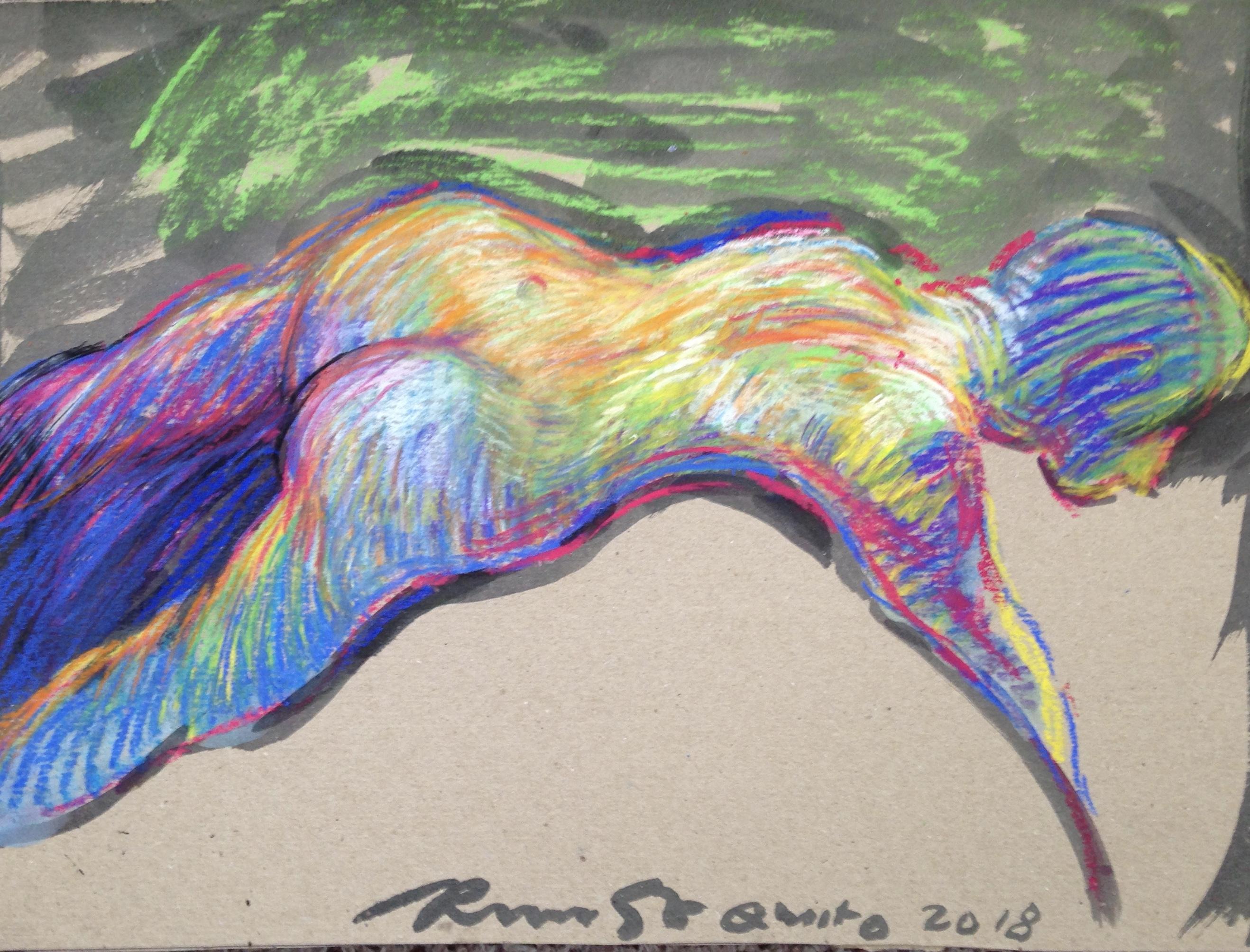 nude pastel on carton 36x50 cm 2018 Quito Equador