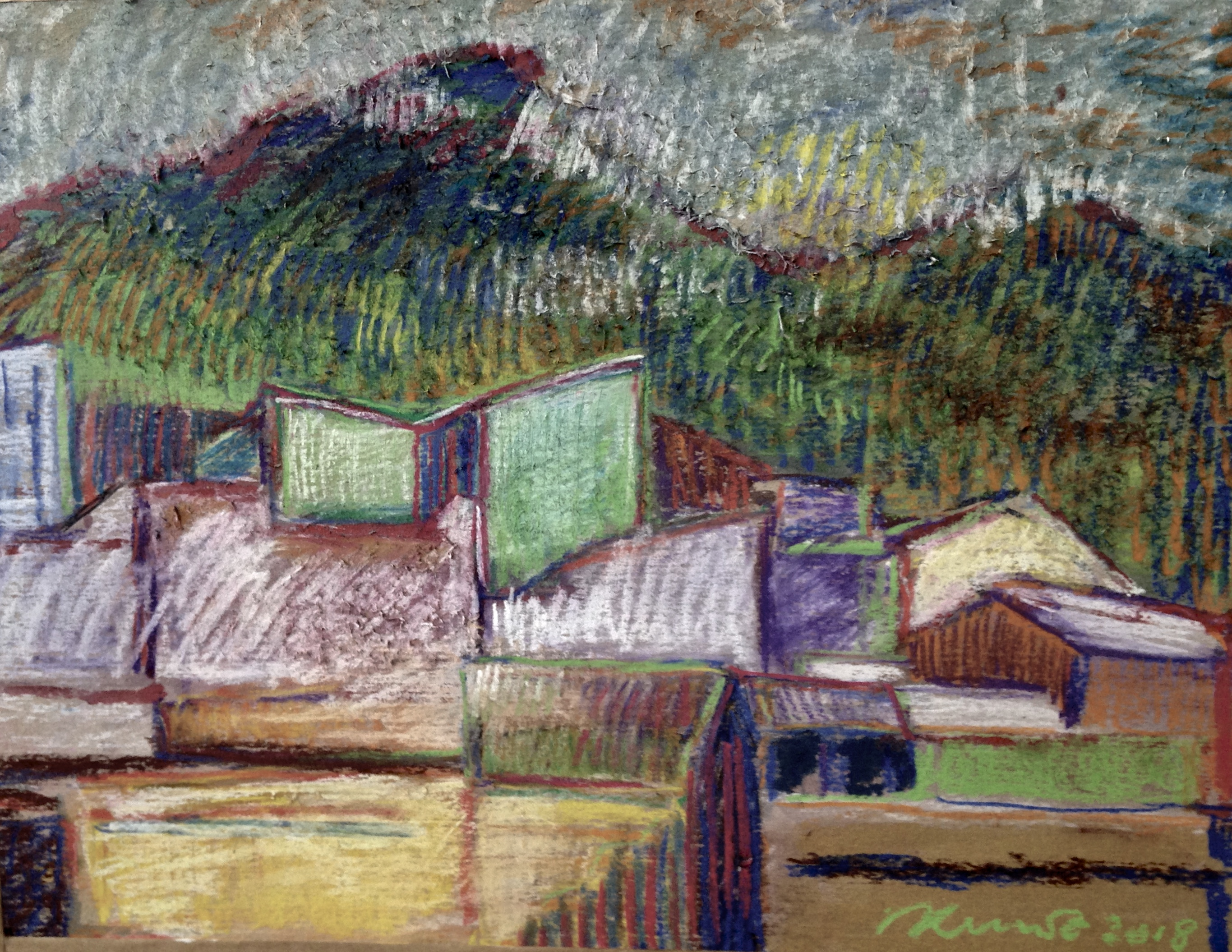 landscape with cubist houses pastel 36x50 Quito 2018