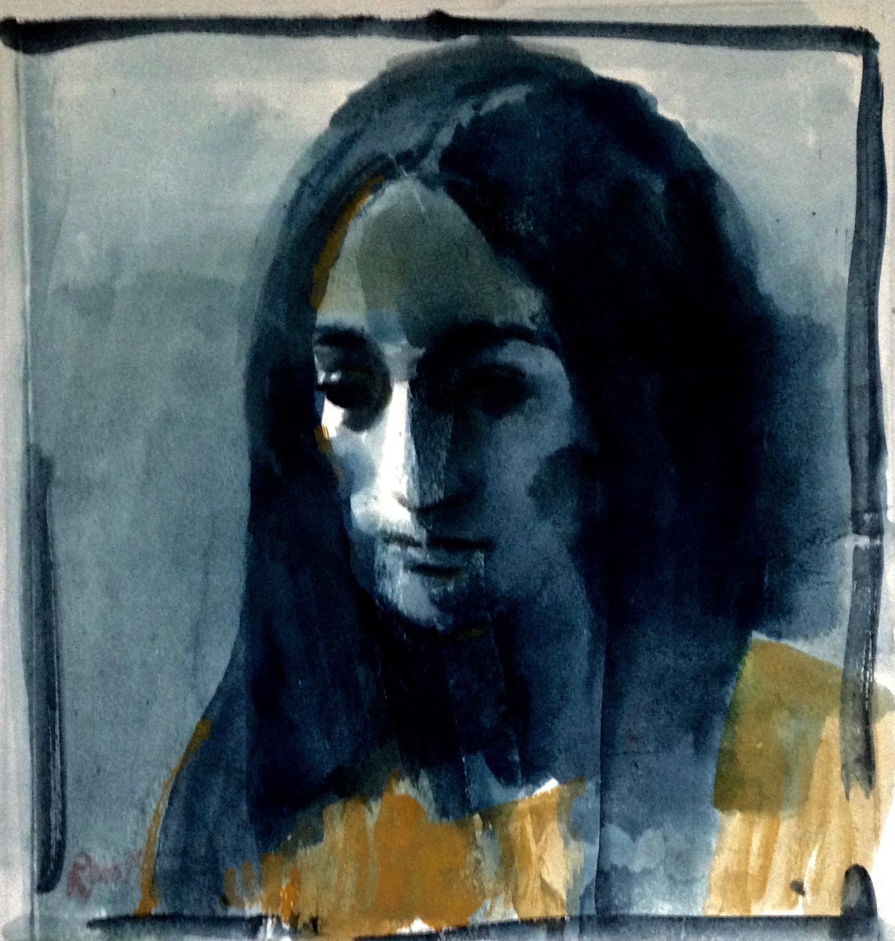 ritratto Lucia, pennello acqua indaco  e ocra su carta Arche  45x 39 cm 2019