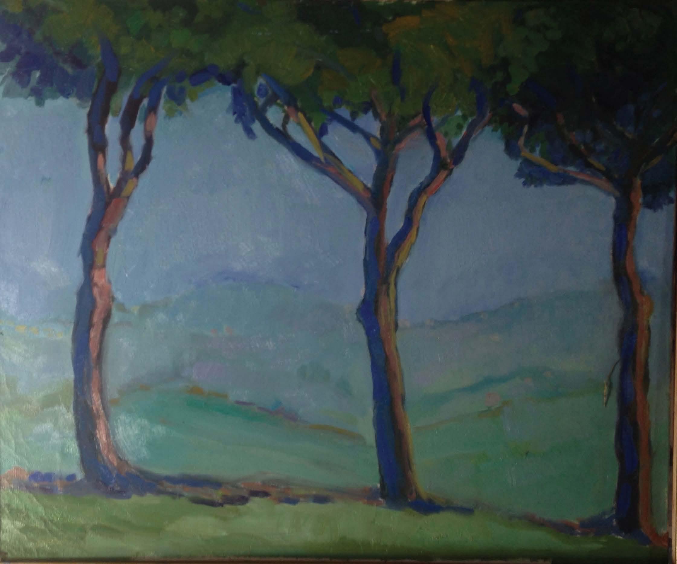 ''3 arberi di Palazzo R'' 50x60 cm olio su tela 2019