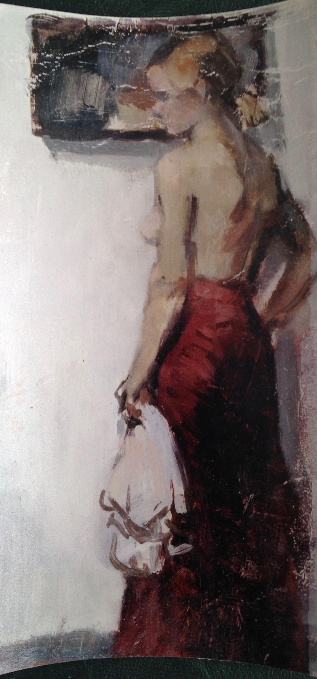 piccolo mezzo-nudo in piedi in gonna rossa    olio su legno circa 20 x12 cm 1963