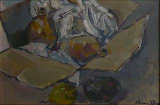 ''frutta e  vasetti in una scatola di cartone '' olio su tela 30x40 cm