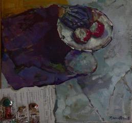 ''piatto di porcellana con frutto e collage e tubi di pintura'' olio su tela 40x50 cm