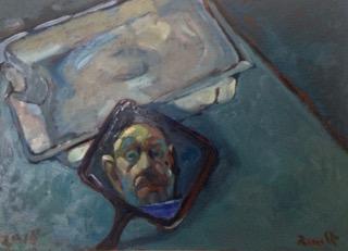 ''piccolo natura morta con specchio e autoritratto '' olio su legno 45x60 cm  2018