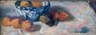 ''ciotola di porcellana con arance secche''  olio su legno