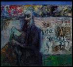 "autoportrait""mene tekel ''selfportrait huile/collage sur toile  230x120 cm 2012  VENDU coll J .Baars Hollande"
