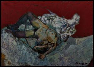 ''nu sur fond rouge :nude in red '' huile sur toile  212x152 cm2006 -vendu collection J Baars hollande