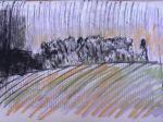 """etude """"les terrifiés"""" craie sur papier  ca 35x40cm  2010"""