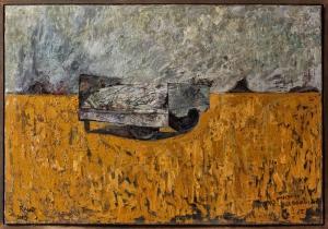 ''remorque avec cadavre dans le champs (serie shoa) huile sur toile 200x180 cm