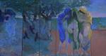 ''Virgile vous attends aux Champs Elysées'' 5 Panneaux (200x65 cm)tempera et technique Keim pour un centre funeraire La Haye Hollande