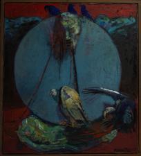''l'horloge et autoportrait ''huile sur toile 210x190 cm  2015