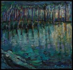 ''couche soleil avec reflet d'au'' huile sur toile 100x110 cm