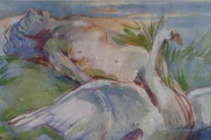 aquarelle ''Zeus viol en apparence d'un signe 2017