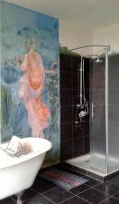 fresque dans la salle de bain chateau de Bru (technique Keim -encaustique)