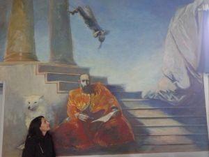 Zoila devant la fresque à Anglars-Juillac France - Fresque a la tempera sur bois (détail) 1990