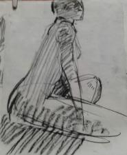 etude  pour tableau ''nue assis dans le crepuscule'' craie sur papier 2017