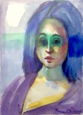 portrait of a young Equatorien girl aquarelle on arche paper 40x30 cm 2018