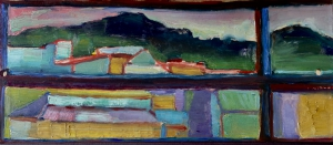 view of my studio in QUITO oil on wood 35 x16 cm 2018