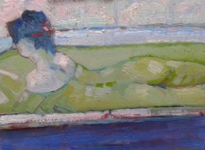 piccolo nuda nel bagno olio su legno