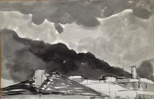 ''i tetti da QUITO'' disegno lavato su carta di riso con inchiostro e pennello  2018